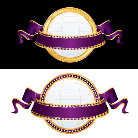 perforation tape: two billboard blank globe spheres with purple cinema banner  Illustration