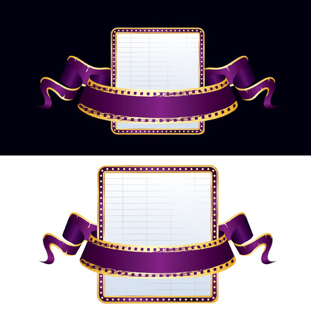 perforation tape: ector empty billboard and blank purple cinema banner