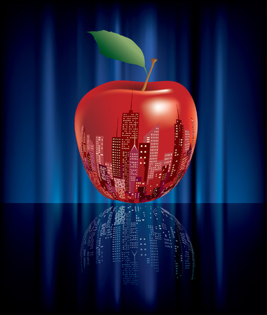 big apple: vector abstract big red apple, New York sign  Illustration