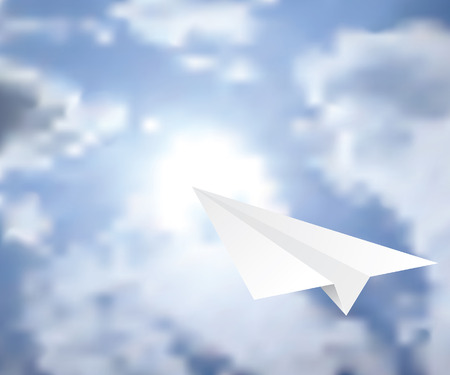 vector illustration of the paper plane on the cloudy sky  Vector