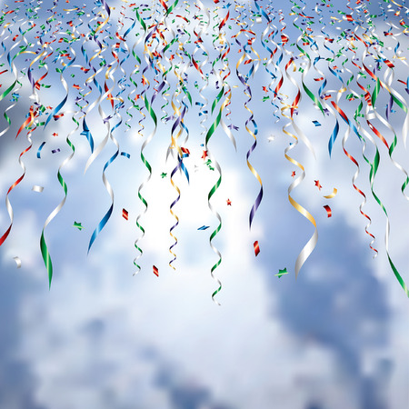 vector falling confetti on cloudy sky Vector