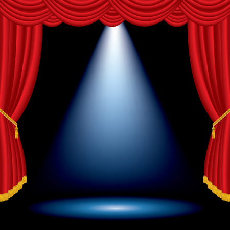 theater auditorium: vector one blue spot on stage with red curtain Illustration