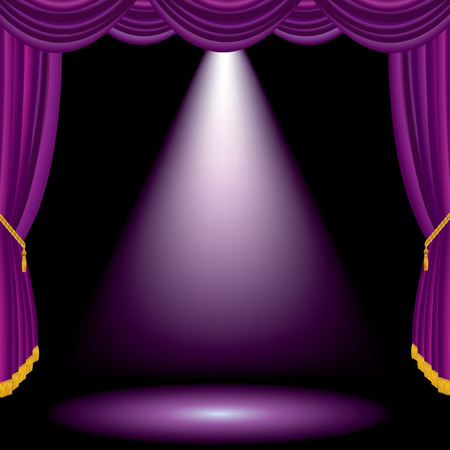 velvet fabric: vector purple stage with one spot light
