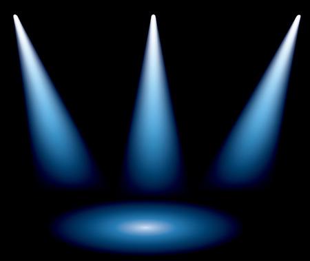 할로겐: 세 개의 파란색 관광 명소와 벡터 배경
