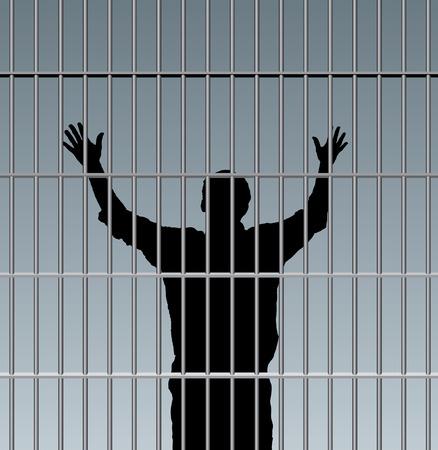 cellule de prison: désespérée prisonnier en prison Illustration