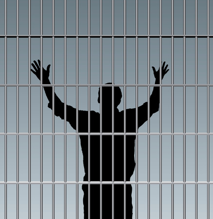 desperate prisoner in jail Vector