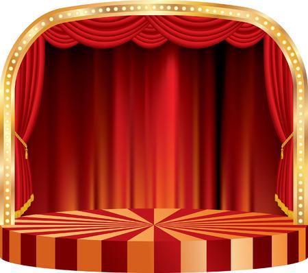 vector ronde podium met rood gordijn