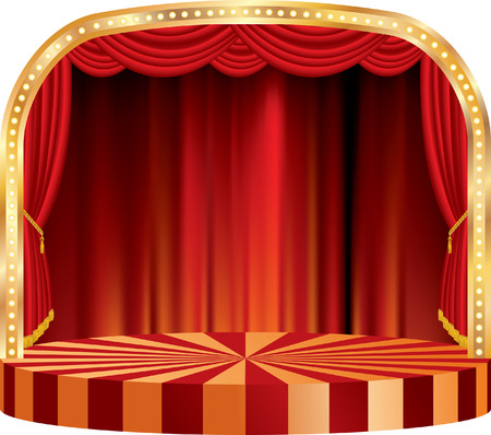 circus stage: vector rounded stage with red curtain