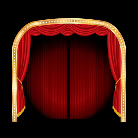 vector stage with red curtain and golden frame  Vector