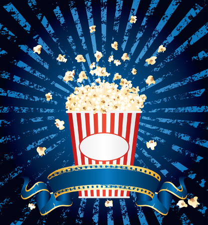 vector illustration of the popcorn explosion on blue grunge burst with blank cinema banner Vector