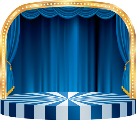 vector rounded stage with blue curtain Фото со стока - 27536400
