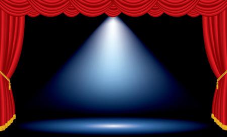 sipario chiuso: vettore una macchia blu sul rosso vasta palco