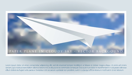 vector layout with paper plane on the cloudy sky  Vector