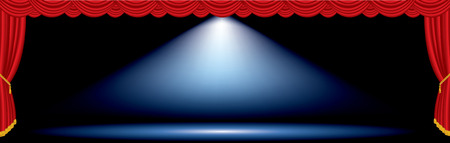 vector one blue spot on red wide stage  Illustration
