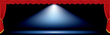 Vecteur d'une tache bleue sur une large scène rouge Banque d'images - 27537259