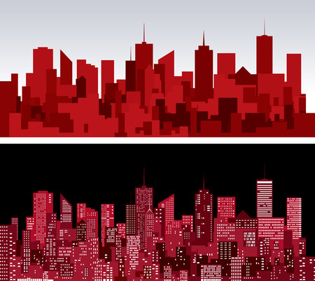 abstract city skylines in two red versions