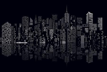 검은 색과 흰색 추상 도시의 스카이 라인에 창 일러스트