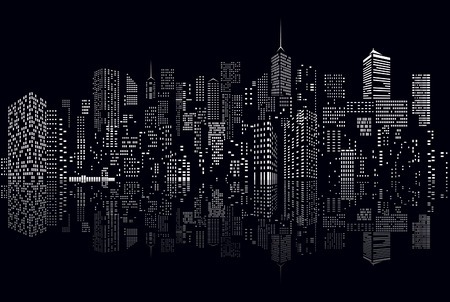 city skyline night: windows on abstract city skylines in black and white  Illustration