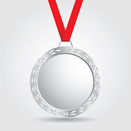 silver medal: silver medal with red ribbon Illustration
