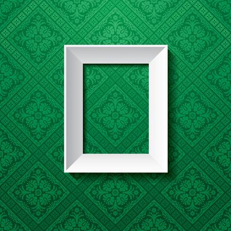 green wallpaper: blank white frame on old green wallpaper Illustration