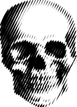 vector simple illustration with black and white skull, best for silk-print on t-shirt  Vector