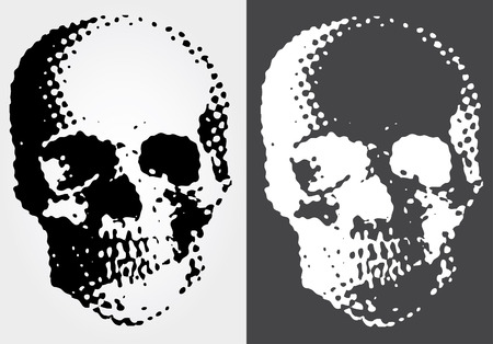 vector simple illustration with black and white dotted skull  Vector