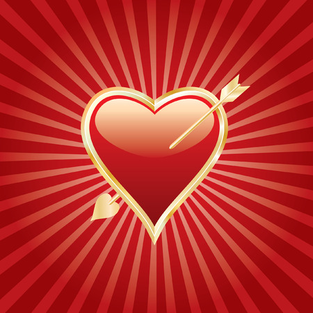 harmonious: wounded heart of gold on red burst