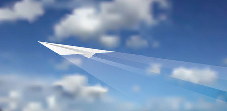 illustration of the paper plane on cloudy sky Vector
