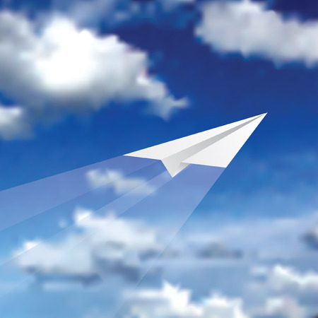 vector illustration of the paper plane on cloudy sky  Vector