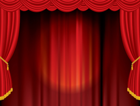 sipario chiuso: posto vettore sul palco rosso