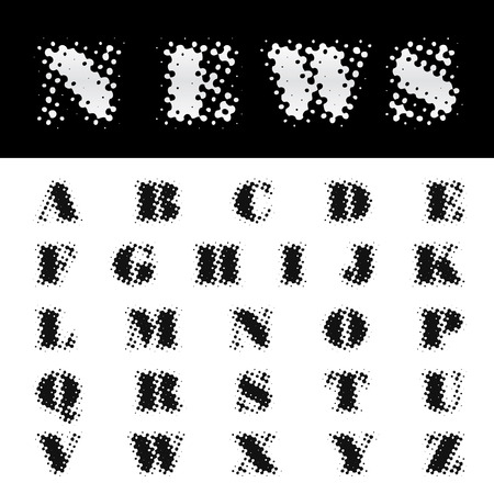 darkly: vector dotted newspapers font
