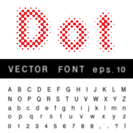darkly: original dotted raster vector alphabet Illustration