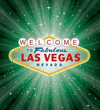 las vegas sign over the green night star burst  Vector
