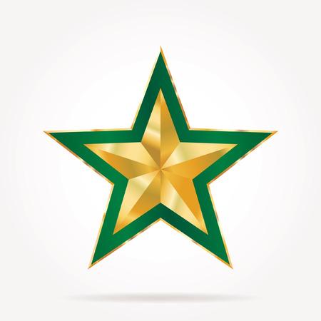 green golden star Vector