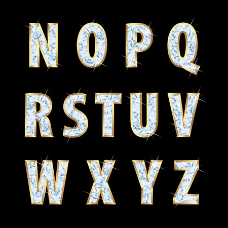 vector golden alphabet with diamonds  Vector