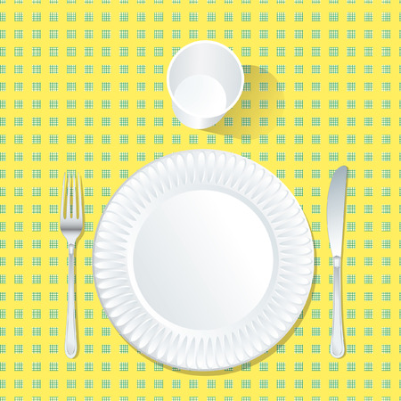 checker plate: paper plate on yellow and green tablecloth