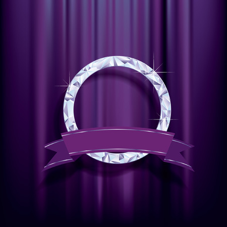 silver frame: abstract background, diamond ring with blank banner on purple velvet  Illustration