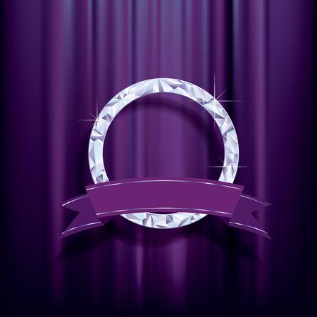 marcos redondos: resumen de antecedentes, anillo de diamantes con la bandera en blanco sobre terciopelo morado Vectores