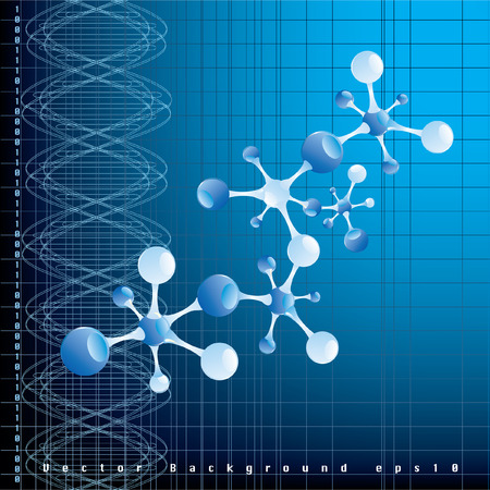 dna graph: vector blue background with abstract DNA graph and molecule model  Illustration