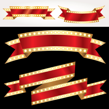 set of vector red show banners with bulb lamps