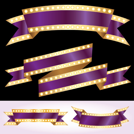 vegas strip: set of vector purple show banners with bulb lamps Illustration