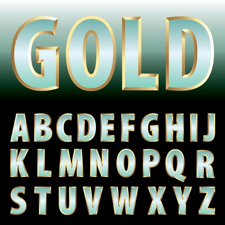 gold letters: vector turquoise green gold letters