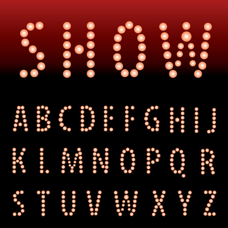 textual: vector alphabet with red bulb lamps