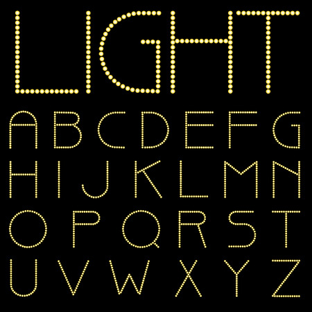 textual: vector alphabet with bulb lamps  Illustration