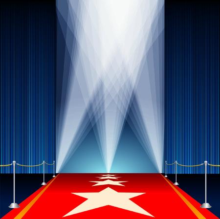 sipario chiuso: illustrazione vettoriale con tappeto rosso e stelle