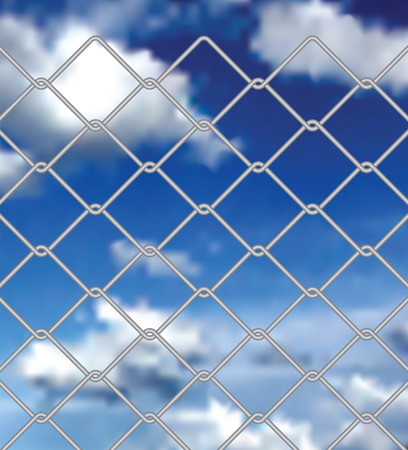 prison fence: vector wiev on cloudy sky through wired fence