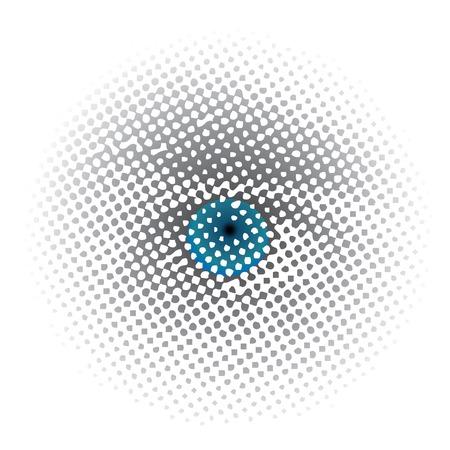 ojo azul: vector de puntos de trama de medios tonos azul ojo