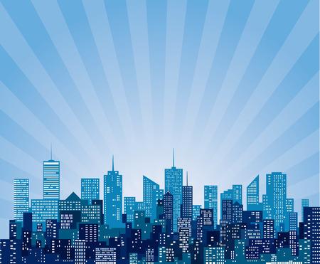 vector abstract cityscape with sun burst