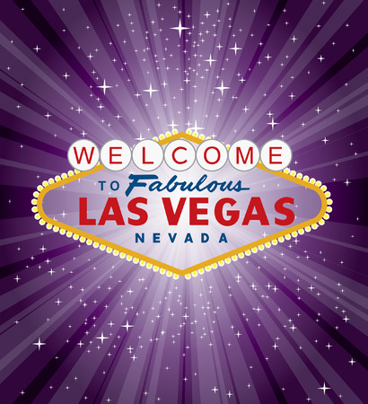vector las vegas sign over the purple night star burst  Vector