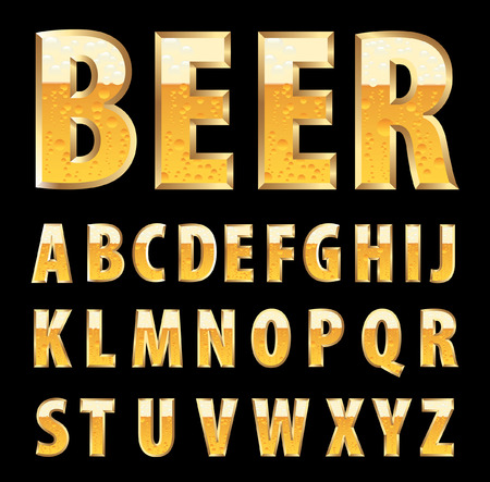 golden letters with beer texture